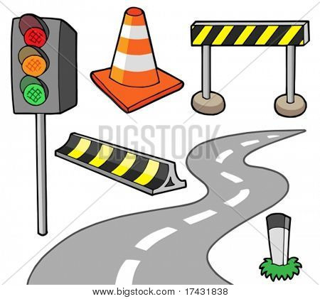 Various road objects - vector illustration.