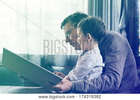 Reading Togetherness Grandfather Grandson Leisure poster