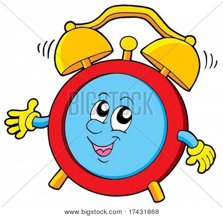 Cartoon alarm clock - vector illustration.