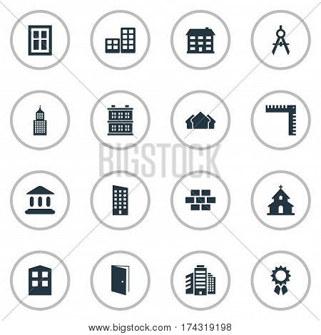 Set Of 16 Simple Structure Icons. Can Be Found Such Elements As Popish, Stone, Superstructure And Other.