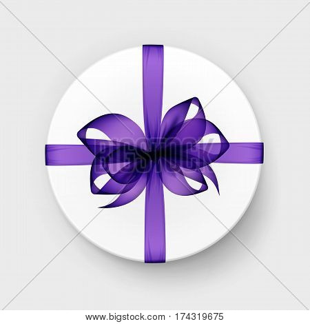 Vector White Round Gift Box with Transparent Purple Bow and Ribbon Top View Close up Isolated on Background