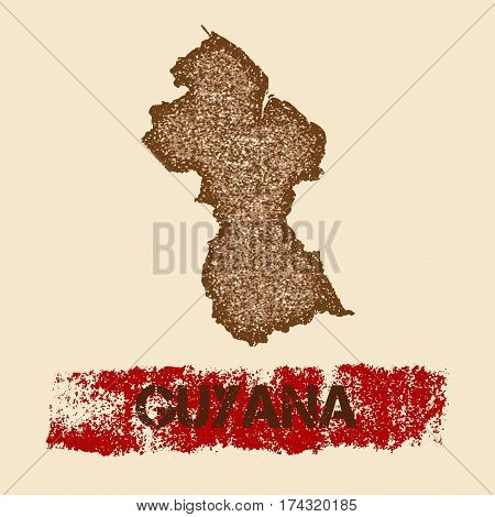Guyana Distressed Map. Grunge Patriotic Poster With Textured Country Ink Stamp And Roller Paint Mark