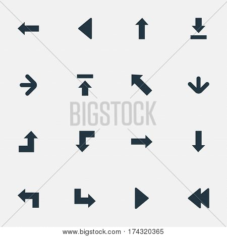 Set Of 16 Simple Arrows Icons. Can Be Found Such Elements As Right Direction, Left Direction, Upward Direction And Other.
