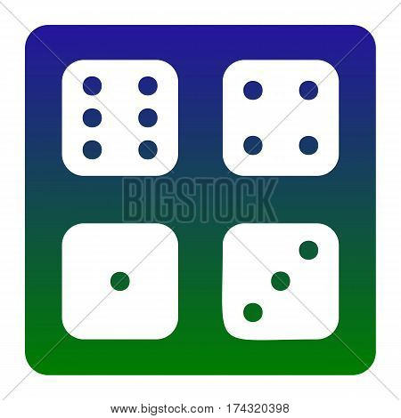 Devils bones, Ivories sign. Vector. White icon at green-blue gradient square with rounded corners on white background. Isolated.