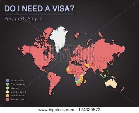 Visas Information For People's Republic Of Angola Passport Holders. Year 2017. World Map Infographic