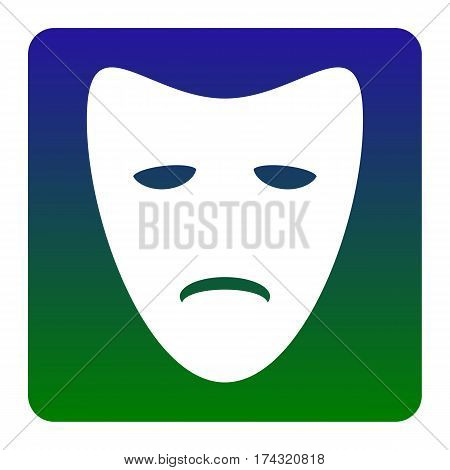 Tragedy theatrical masks. Vector. White icon at green-blue gradient square with rounded corners on white background. Isolated.