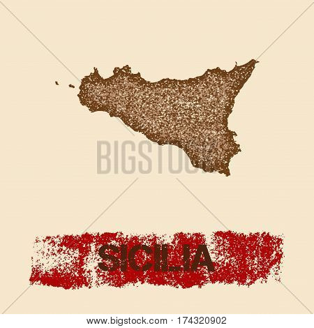 Sicilia Distressed Map. Grunge Patriotic Poster With Textured Island Ink Stamp And Roller Paint Mark