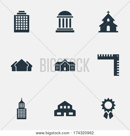 Set Of 9 Simple Construction Icons. Can Be Found Such Elements As Residence, Length, Popish And Other.