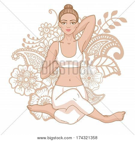 Women silhouette. Mermaid yoga pose. Eka pada raja kapotasana. Vector illustration