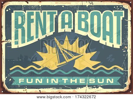 Retro tin sign design for boat rentals. Summer vacation theme. Simple shape of sun with boat in negative space and sea waves on navy blue background. Vector illustration.