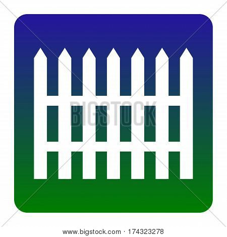 Fence simple sign. Vector. White icon at green-blue gradient square with rounded corners on white background. Isolated.