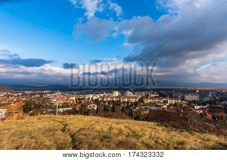 Beautiful view at the hill near Deva city,Romania
