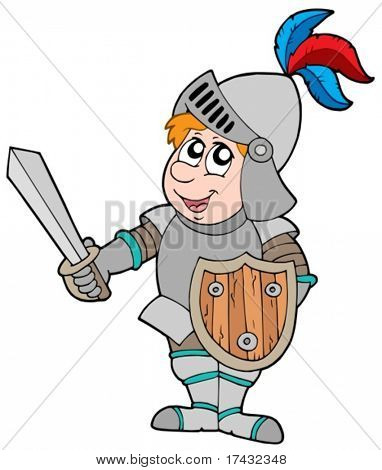 Cartoon knight on white background - vector illustration.