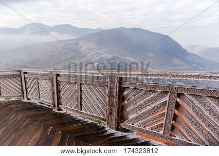 Wood bridge at old citadel ,Deva, Romania