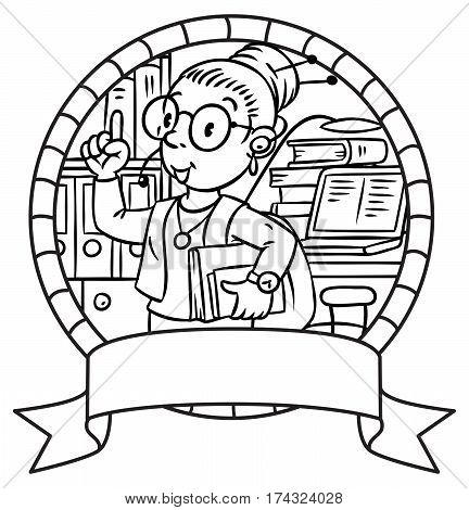 Coloring picture of interpreter or translator. A woman in round glasses and a suit with books under his arm and headset, raised index finger. Profession series. Children vector illustration. Emblem