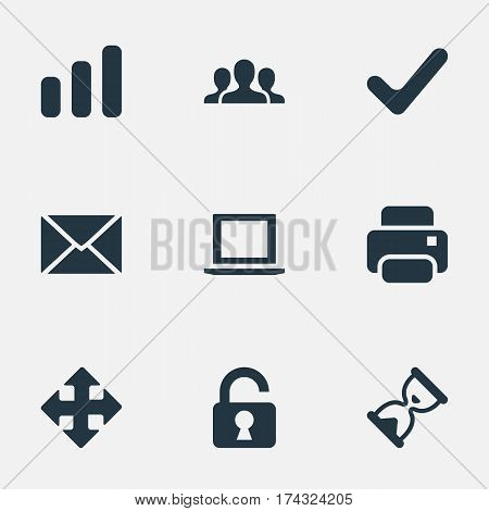 Set Of 9 Simple Practice Icons. Can Be Found Such Elements As Open Padlock, Check, Sand Timer.