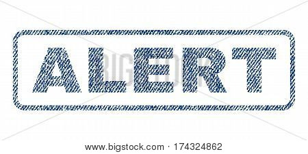 Alert text textile seal stamp watermark. Blue jeans fabric vectorized texture. Vector tag inside rounded rectangular shape. Rubber emblem with fiber textile structure.