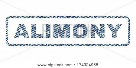 Alimony text textile seal stamp watermark. Blue jeans fabric vectorized texture. Vector caption inside rounded rectangular banner. Rubber emblem with fiber textile structure.