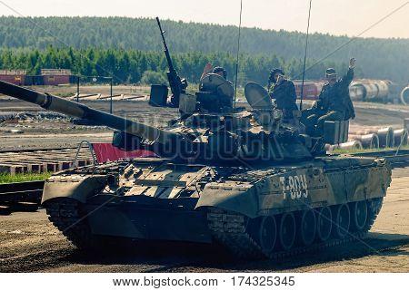 Nizhniy Tagil Russia - July 12. 2008: Convoy of T80U tank moves on shooting demonstration range. RAE-2008 exhibition