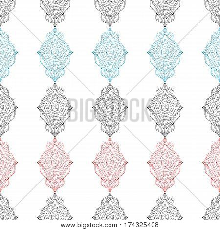 Ornament tracery pattern. Hand drawn seamless background. Abstract colorful rhombus texture for wallpaper, wrapping, textile design, fabric