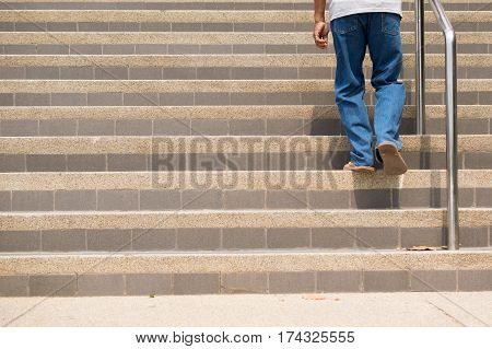 Keep going, a man walking up the stair.