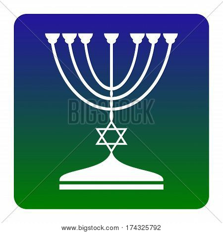 Jewish Menorah candlestick in black silhouette. Vector. White icon at green-blue gradient square with rounded corners on white background. Isolated.
