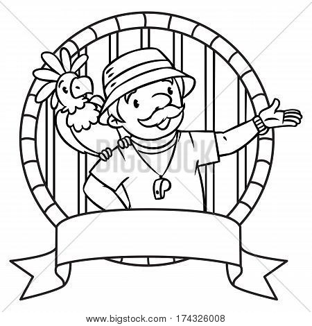 Coloring book of funny zoo keeper. A man dressed in panama hat, t-shirt and shorts with parrot and the service cart. Profession series. Childrens vector illustration. Emblem