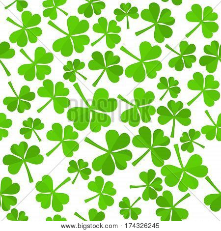 Seamless Background with Green Shamrock Leaves Made in Flat Style. Isolated Trefoil Foliage for St.Patricks Day Design. Vector EPS10