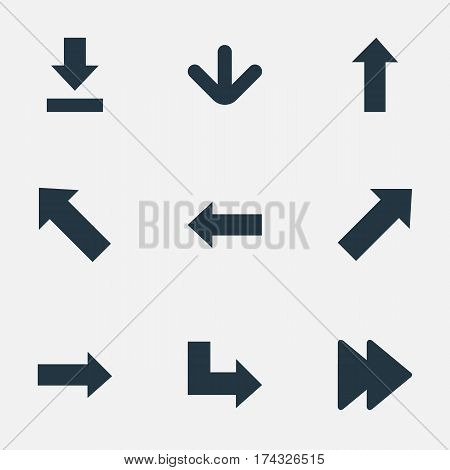 Set Of 9 Simple Arrows Icons. Can Be Found Such Elements As Left Direction, Indicator, Advanced And Other.