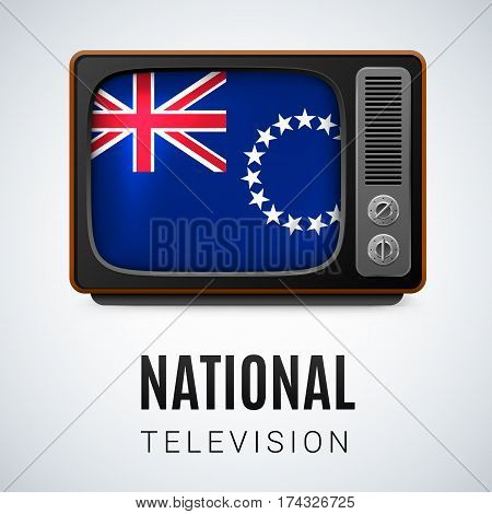 Vintage TV and Flag of Cook Islands as Symbol National Television. Tele Receiver with flag design