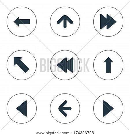 Set Of 9 Simple Pointer Icons. Can Be Found Such Elements As Left Landmark , Pointer , Upward Direction.