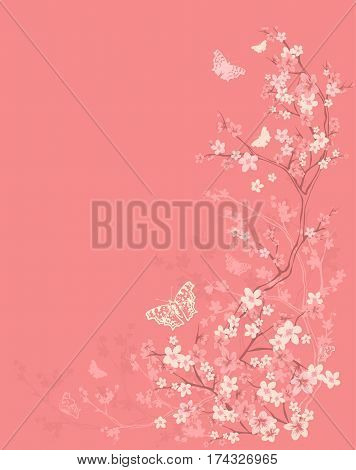 spring season vector background with butterflies flying among blooming sakura branches