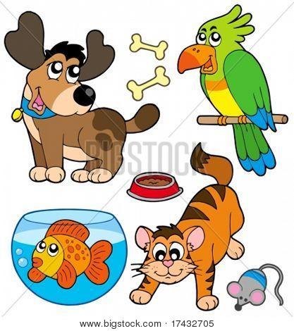 Colección de mascotas - ilustración vectorial.