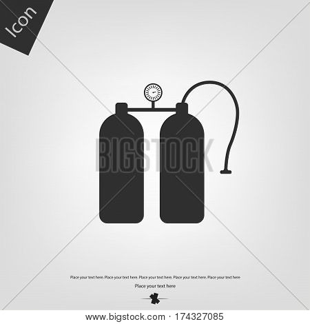 Aqualung vector icon, gray background. Vector illustration.