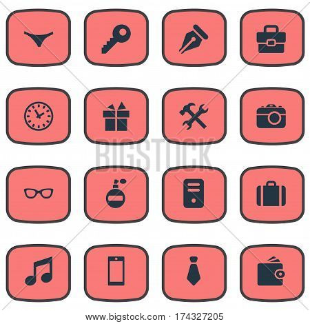 Set Of 16 Simple Instrument Icons. Can Be Found Such Elements As Repair, Digital Camera, Underwear And Other.