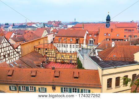 Bamberg city center aerial view with half-timbered colorful houses