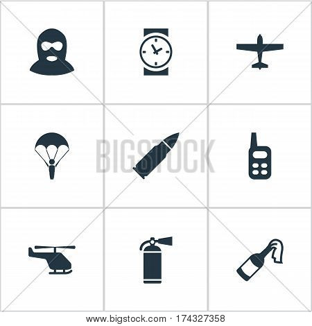 Set Of 9 Simple Army Icons. Can Be Found Such Elements As Watch, Paratrooper, Terrorist And Other.