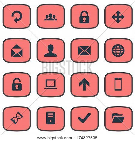 Set Of 16 Simple Apps Icons. Can Be Found Such Elements As Dossier, Upward Direction, Notebook And Other.