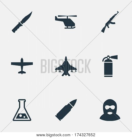 Set Of 9 Simple Battle Icons. Can Be Found Such Elements As Sky Force, Chemistry, Cold Weapon And Other.