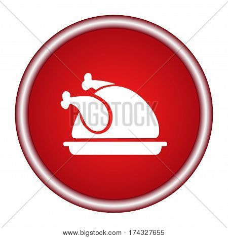 Chicken icon, chicken dish vector, chicken vector, chicken on plate vector
