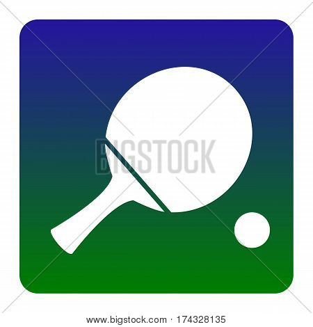 Ping pong paddle with ball. Vector. White icon at green-blue gradient square with rounded corners on white background. Isolated.