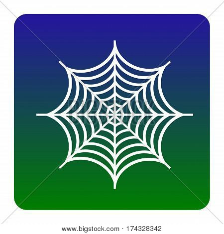 Spider on web illustration. Vector. White icon at green-blue gradient square with rounded corners on white background. Isolated.