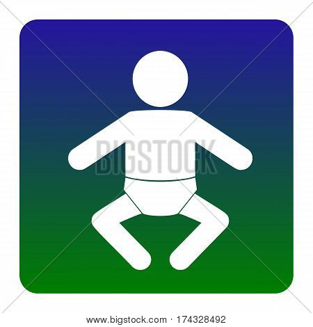 Baby sign illustration. Vector. White icon at green-blue gradient square with rounded corners on white background. Isolated.