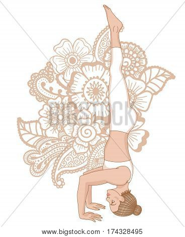 Women silhouette on paisley mehndi ormanent background. Tripod Headstand yoga pose. Sirsasana 2. Vector illustration