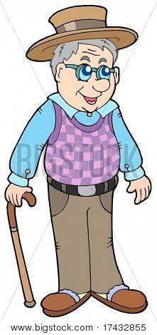 Grandpa with hat - vector illustration.