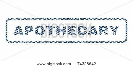 Apothecary text textile seal stamp watermark. Blue jeans fabric vectorized texture. Vector caption inside rounded rectangular banner. Rubber sign with fiber textile structure.