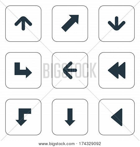 Set Of 9 Simple Arrows Icons. Can Be Found Such Elements As Downwards Pointing, Left Direction, Upward Direction And Other.