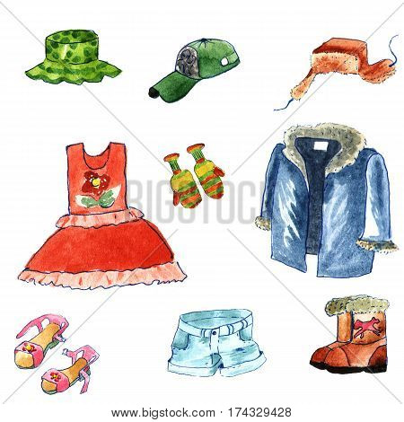 Hand drawn watercolor clothes cartoon style isolated on white background. winter and summer cloth: fur cap with ear flapsfur coat jackbootdressshortshatcap and sandals