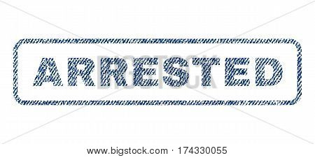 Arrested text textile seal stamp watermark. Blue jeans fabric vectorized texture. Vector caption inside rounded rectangular shape. Rubber sticker with fiber textile structure.