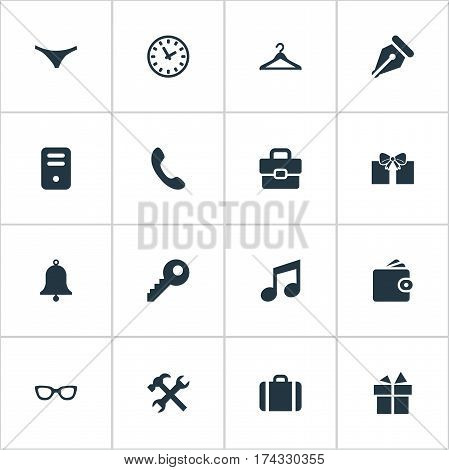 Set Of 16 Simple Instrument Icons. Can Be Found Such Elements As Billfold, Password, Briefcase And Other.